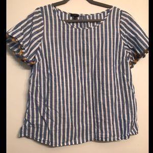 Talbots Blue & White Striped Crop Tee size XL P